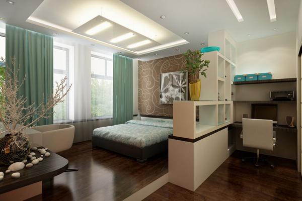 Разделение спальной зоны в однокомнатной квартире